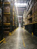 The modern warehouse with high shelf royalty free stock photography