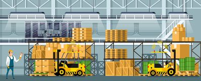 Modern Warehouse Indoor Space with Goods on Shelf. Manufacturing Storage with Computer Control Logistic, Automatic Forklift Car and Professional Worker. Smart vector illustration