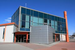Modern warehouse and office building. Entrance Royalty Free Stock Photo