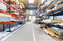 Modern warehouse with symmetric rows Stock Image