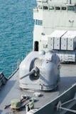 Modern warship gun turret. At sea stock photo