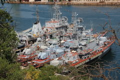 Modern warships Russia on alert ready to be on demand. Modern warships are in the Bay of Sevastopol on duty ready at any moment, any day, any month of the year Royalty Free Stock Photos