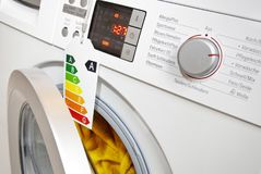 Modern washing machine with eco-label Royalty Free Stock Photos