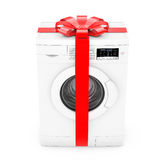 Modern Washing Machine with Red Ribbon and Bow as Gift. 3d Rende Stock Image