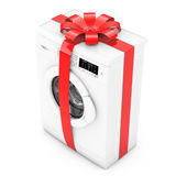 Modern Washing Machine with Red Ribbon and Bow as Gift. 3d Rende Royalty Free Stock Images