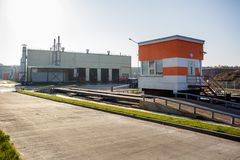 Modern waste recycling processing plant. Separate garbage collection. Recycling and storage of waste for further disposal stock image