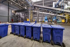 Modern waste recycling processing plant. Separate garbage collection. Recycling and storage of waste for further disposal.  royalty free stock photography