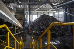 Modern waste recycling processing plant. Separate garbage collection. Recycling and storage of stock photos