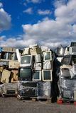 Modern waste of 80s and 90s. Modern electronic waste for recycling or safe disposal, any logos and brand names have been removed. Great for recycle and Stock Image