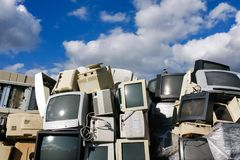 Modern waste of 80s and 90s. Modern electronic waste for recycling or safe disposal, any logos and brand names have been removed. Great for recycle and Stock Images