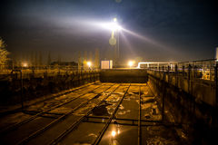Modern wastewater treatment plant of chemical factory at night. Water purification tanks royalty free stock image