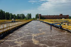 Modern wastewater treatment plant. Tanks for aeration and biological purification of sewage royalty free stock photos