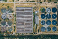 Modern wastewater treatment plant, top view from drone royalty free stock image