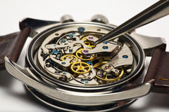 Modern Watch Repair. Modern watch movement being serviced and repaired Royalty Free Stock Photo