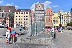 Modern water fountain in Wroclaw. Modern water fountain feature in the market square, Old Town, Wroclaw, Poland royalty free stock photography