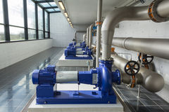 Modern water pumps. In a water plant station in Denmark Stock Image