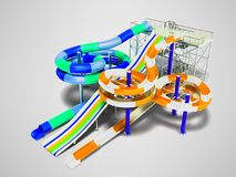 Modern water slide for water park one big slide for three people royalty free illustration