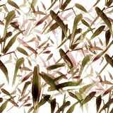 Modern watercolor bamboo seamless pattern. Shades of brown royalty free illustration