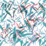 Modern watercolor bamboo seamless pattern. Shades of pastel blue and red stock illustration