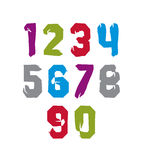 Modern watercolor brushed numbers set, hand-drawn Royalty Free Stock Photo