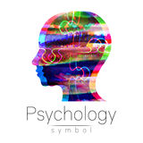 Modern Watercolor head logo of Psychology. Profile Human. Creative style. Logotype in . Design concept. Brand company. Rainbow bright color isolated on white Royalty Free Stock Image