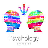 Modern Watercolor head logo of Psychology. Profile Human. Creative style. Logotype in . Design concept. Brand company. Rainbow bright color isolated on white Royalty Free Stock Photos