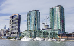 Modern waterfront apartments and marina in Melbourne, Australia Royalty Free Stock Photography
