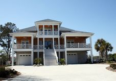 Modern Waterfront Home. Large modern waterfront home with double garages Stock Images