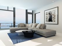Modern waterfront living room interior Royalty Free Stock Photography