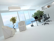 Modern Waterfront Office Interior Royalty Free Stock Photos