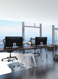 Modern waterfront office overlooking the sea Stock Photos