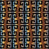 Modern wave greek key meander seamless pattern. Ethnic style meander seamless pattern. Vector tribal greek key background. Bright surface texture. Modern 3d Royalty Free Stock Photos