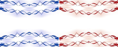 Modern waves border frame. Set of two abstract blue and red background texture with lines and waves Stock Image