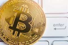 Modern way of exchange and bitcoin is convenient payment in glob royalty free stock images