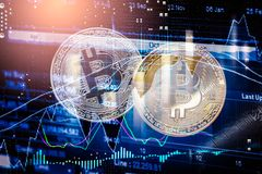 Modern way of exchange. Bitcoin is convenient payment in global economy market. Virtual digital currency and financial investment stock photography