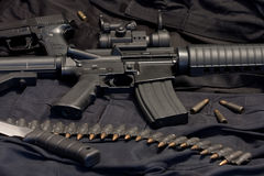 Modern weapon M4. Black background Royalty Free Stock Images