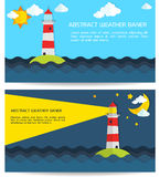 Modern weather background with lighthouse, sun, moon and clouds Royalty Free Stock Photo