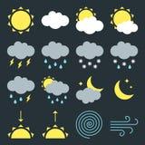 Modern weather icons signs set flat style design vector illustration symbols isolated on dark background. vector illustration