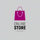 Web banner Online Store with handbag and footwear. Illustration on transparent background. Modern web banner Online Store with fashionable handbag and footwear Stock Image