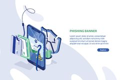 Modern web banner template with cracked smartphone, credit cards on fishing hook, broken protective shield and place for royalty free illustration