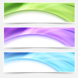 Modern web bright glowing header footer set Stock Photos