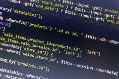 Modern web development background. Abstract pieces of PHP code