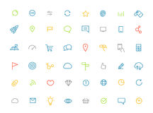 Modern web and mobile application color pictograms Royalty Free Stock Photos