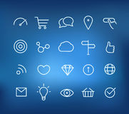Modern web and mobile application pictograms collection on blur Royalty Free Stock Images
