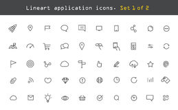 Modern web and mobile application pictograms. Collection. Lineart intercece icons set Stock Images
