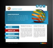 Modern web page template. With 3d navigation items Royalty Free Stock Images