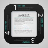 Modern web template with black paper stripe, four numbered options and text Stock Images