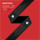 Modern web template with black paper stripe and two numbered options on red background Royalty Free Stock Image