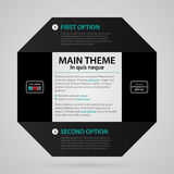 Modern web template with black paper stripe, two numbered options and text Stock Photo