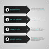 Modern web template with four black arrows and options Stock Photo
